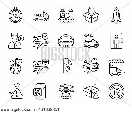 Vector Set Of Taxi, Rocket And Search Flight Line Icons Set. Destination Flag, Lighthouse And Delive
