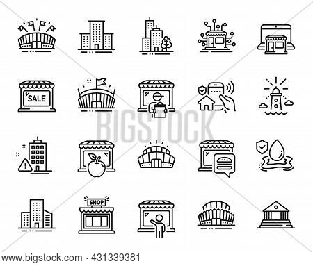 Vector Set Of Flood Insurance, Marketplace And Lighthouse Line Icons Set. University Campus, Arena S