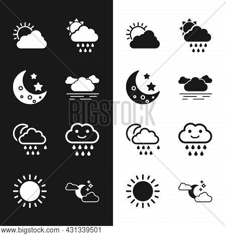 Set Cloud, Moon And Stars, Sun Cloud Weather, With Rain Sun, Moon, And Icon. Vector