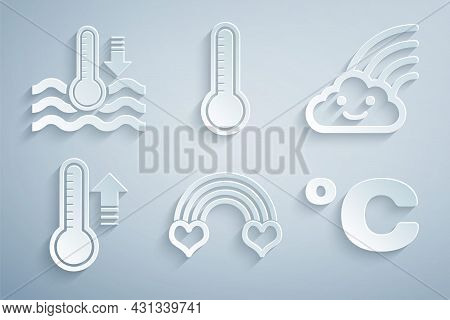 Set Rainbow With Heart, Cloud, Meteorology Thermometer, Celsius, And Water Icon. Vector