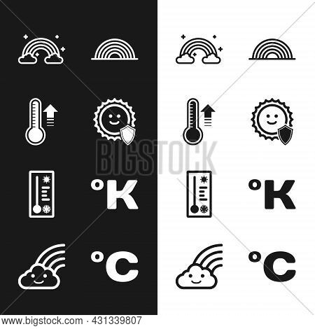 Set Uv Protection, Meteorology Thermometer, Rainbow With Clouds, Kelvin, Celsius And Icon. Vector