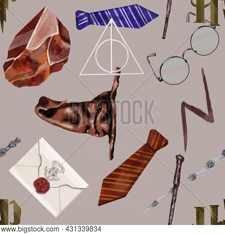 Watercolor Seamless Pattern Illustration With Different Magic And Wizard Objects On Grey Background.