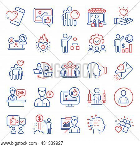 People Icons Set. Included Icon As Reception Desk, Love Letter, Hold Heart Signs. Friendship, Teamwo