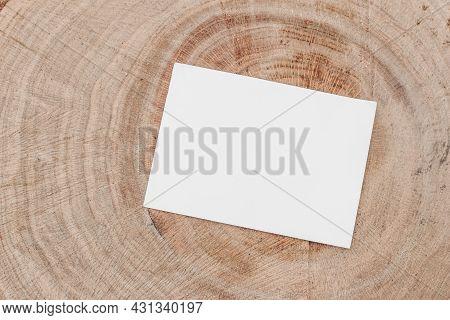Closeup Of Empty Invitation. Branding Mock-up Scene. Blank Business Card, On Cut Wooden Tree Trunk B