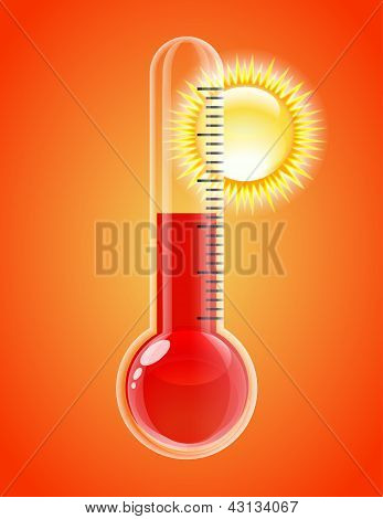 Thermometer with sun. Hot weather. Vector illustration poster