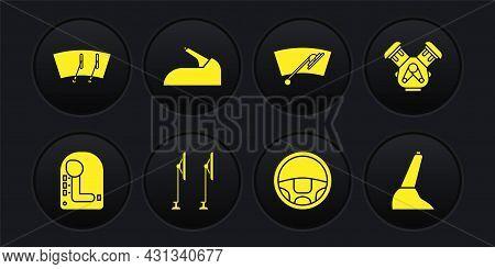 Set Gear Shifter, Car Engine, Windscreen Wiper, Steering Wheel, Handbrake, And Icon. Vector