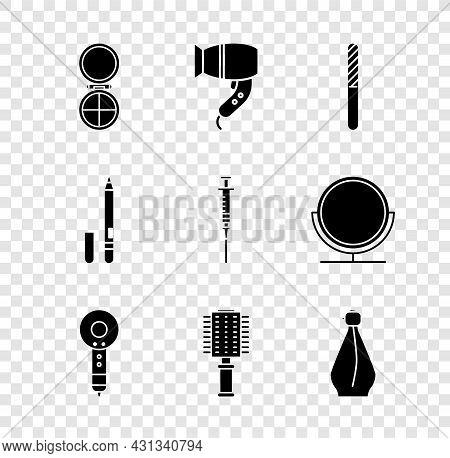 Set Makeup Powder With Mirror, Hair Dryer, Nail File, Hairbrush, Perfume, Eyeliner, Eyebrow And Syri