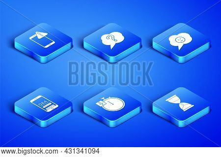 Set Hourglass, Mobile With Exclamation Mark, Stopwatch, Question And Exclamation, Speech Bubble And