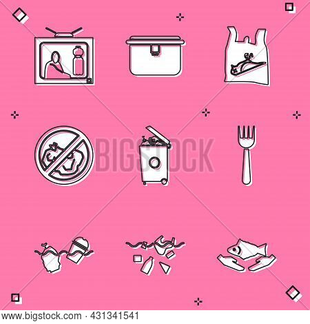 Set Stop Plastic Pollution, Lunch Box, Dead Bird, , No Trash, Trash Can, Disposable Fork, Problem Of