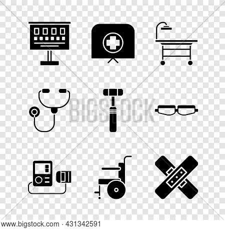 Set Eye Test Chart, Nurse Hat With Cross, Operating Table, Blood Pressure, Wheelchair For Disabled P