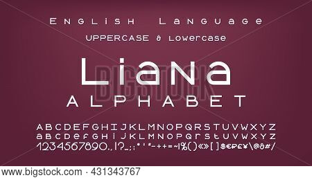 Elegant White Alphabet, Bold Geometric Font. Uppercase And Lowercase Letters, Numbers, Symbols And M