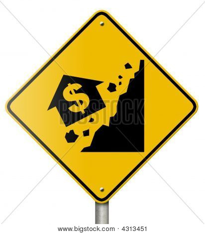 Falling Home Values Sign On White Background