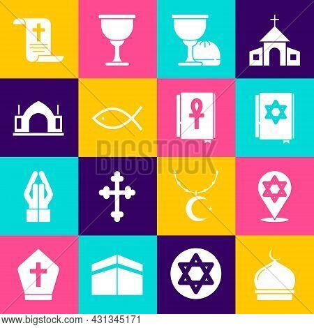 Set Muslim Mosque, Star Of David, Jewish Torah Book, Holy Grail Chalice, Christian Fish, Hindu Spiri