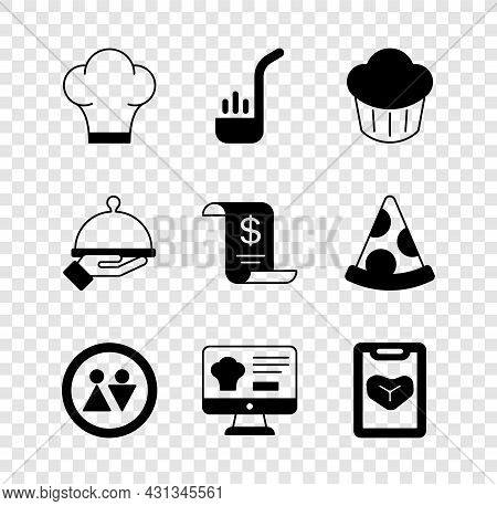 Set Chef Hat, Kitchen Ladle, Cupcake, Toilet, Online Ordering And Delivery, Restaurant Cafe Menu, Co