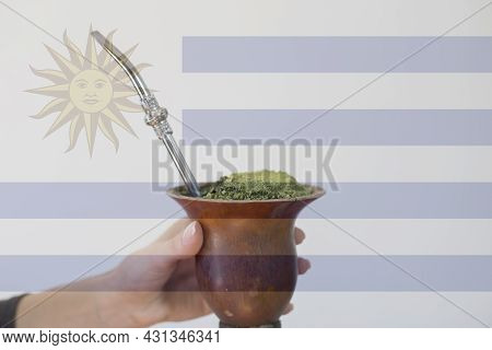 A Gourd Of Yerba Mate With The Uruguay Flag