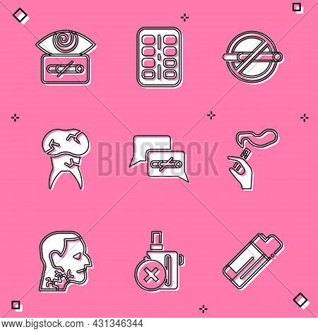 Set Hypnosis, Nicotine Gum In Blister Pack, No Smoking, Tooth With Caries, Hand Cigarette, Throat Ca