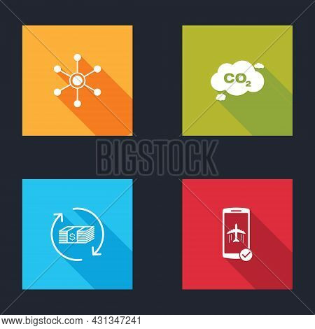 Set Network, Co2 Emissions In Cloud, Refund Money And Flight Mode The Mobile Icon. Vector