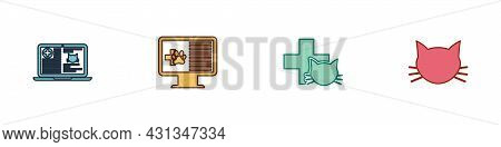 Set Clinical Record Cat On Laptop, Pet Monitor, Veterinary Clinic And Cat Icon. Vector