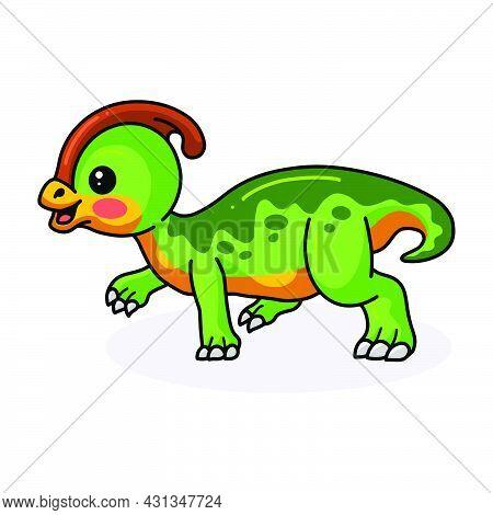 Vector Illustration Of Cute Little Parasaurolophus Dinosaur Cartoon