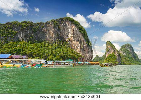 Koh Panyee settlement built on stilts of Phang Nga Bay, Thailand poster