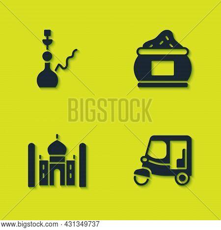 Set Hookah, Taxi Tuk Tuk, Taj Mahal And Indian Icon. Vector