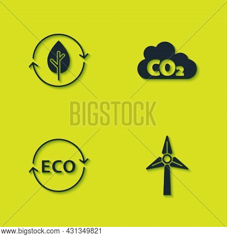 Set Recycle And Leaf, Wind Turbine, Label For Eco Healthy Food And Co2 Emissions Cloud Icon. Vector