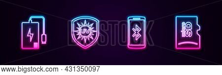 Set Line Power Bank, Uv Protection, Smartphone With Bluetooth And Micro Sd Memory Card. Glowing Neon