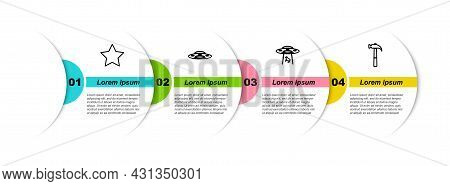 Set Line Star, Ufo Flying Spaceship, Abducts Cow And Hammer. Business Infographic Template. Vector