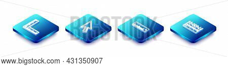 Set Isometric Line Folding Ruler, Pixel Arrow Cursor, Ruler And Measuring Height And Length Icon. Ve