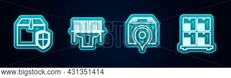 Set Line Delivery Box Security Shield, Scanner Scanning Bar Code, Location With Cardboard And Cardbo