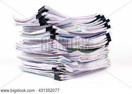 Stack Of Business Paper Isolated On White Background, Job Interview And Busy Business Concepts, Docu