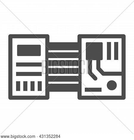 Printed Circuit Board Layout Microchip Contacts Solid Icon, Electronics Concept, Pcb Vector Sign On