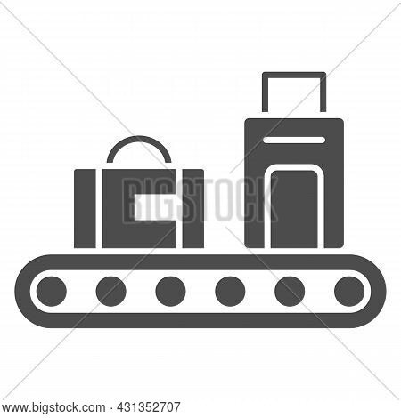 Luggage Conveyor Belt With Bags Solid Icon, Security Check Concept, Baggage Claim Vector Sign On Whi