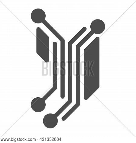 Fragment Of Analog Circuit Layout Solid Icon, Electronics Concept, Part Of Analog Pcb Vector Sign On