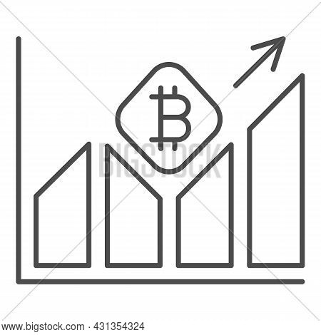 Graph Of Bitcoin Value Growth Thin Line Icon, Cryptocurrency Concept, Btc Rate Surging Vector Sign O