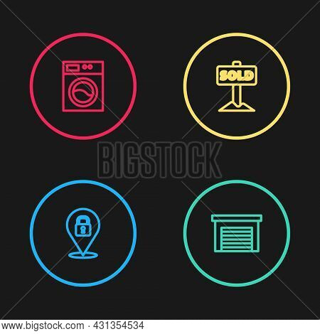 Set Line Location Lock, Garage, Hanging Sign With Text Sold And Washer Icon. Vector