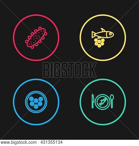 Set Line Caviar On A Plate, Served Fish, Fish With Caviar And Sea Cucumber Icon. Vector