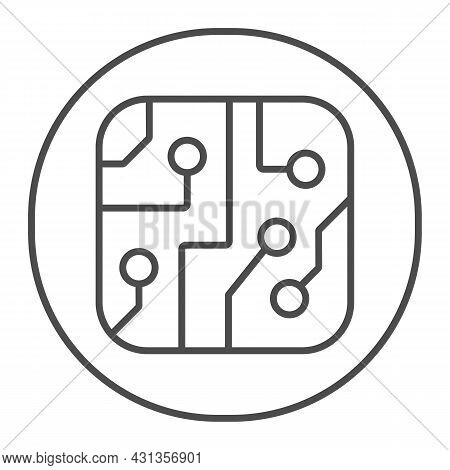 Pcb Layout In Circle Thin Line Icon, Electronics Concept, Printed Circuit Board In Circle Vector Sig