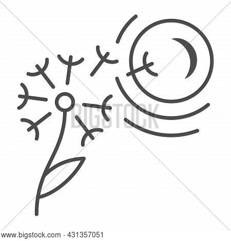 Dandelion Seeds Fly To Sun Thin Line Icon, Nature And Climate Concept, Flower And Sunshine Vector Si