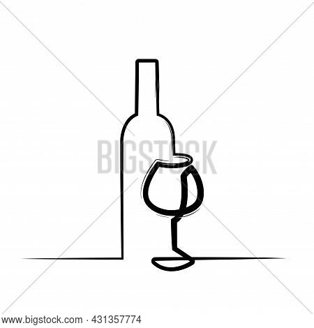 Wineglass Vector Icon Paint Brush Effect. Continuous One Line Drawn A Bottle Of Wine And A Glass. Li