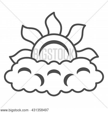 Sun Peeps Out Through Cloud Thin Line Icon, Weather And Climate Concept, Partially Cloudy Vector Sig