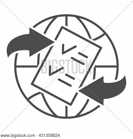 Globe, Arrow, Checkmark, Papper Form Solid Icon, Documetns Concept, Legal Tourism Vector Sign On Whi