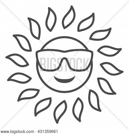 Sun In Glasses Thin Line Icon, Weather And Climate Concept, Sunshine In Spectacles Vector Sign On Wh