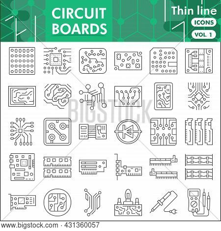 Printed Circuit Board Line Icon Set, Micro Chip Symbols Collection Or Sketches. Pcb Thin Line With H