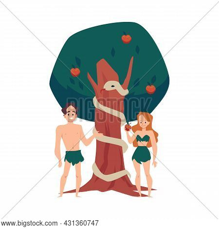 Adam And Eve Eating Forbidden Fruit In Eden, Flat Vector Illustration Isolated.