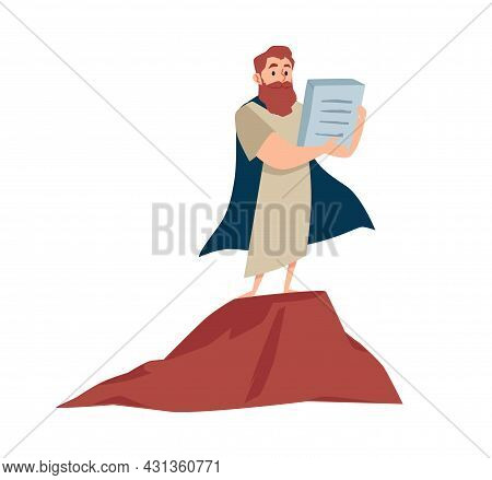 Prophet Moses Holds Tablets With Ten Commandments On Mount Sinai