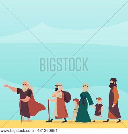 Bible Exodus Episode Of Israelites Left Egypt, Flat Vector Illustration.