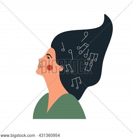 Musical Woman With Notes In Her Head. Female Person Create Musical Composition In Her Mind. Girls Mu