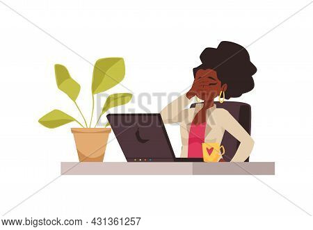 Upset Confused Woman Reading News In Computer Flat Vector Illustration Isolated.