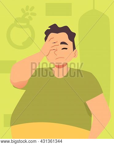 Upset Frustrated Man Feeling Anxiety And Despair, Flat Vector Illustration.